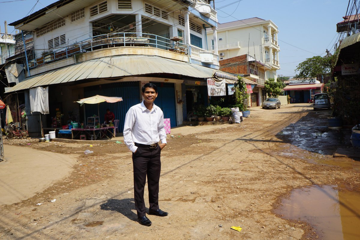 IJM lawyer Sek Saroeun stands on the street where IJM helped officials with our first rescue operation to free 37 girls from a brothel where they were being sold for sex. Today there is a new story unfolding in Cambodia.