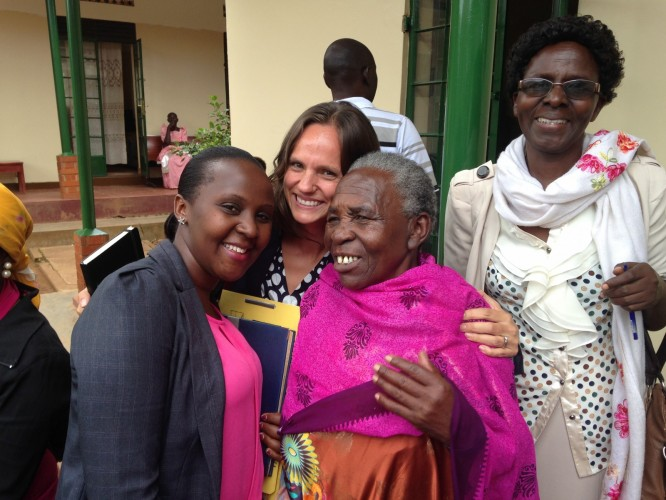Juliana (center) with Kathryn Wilkes and Florence Sitenda, Aftercare Specialist, immediately after the conviction in her case.
