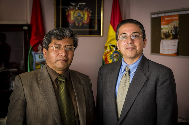Dr. Tarquino, a justice system actor meets with Fernando Rodriguez, previous Bolivia field office director.